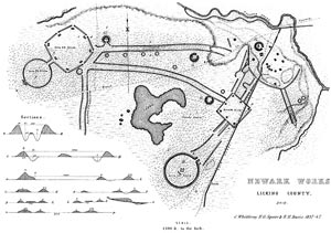 Map of Newark Earthworks (Squier and Davis, Ancient Monuments of the Mississippi Valley, 1848)